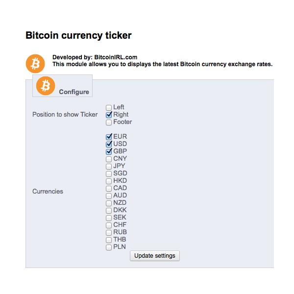Bitcoin Ticker Prestashop Module - GSMsolutions.ie Online Store